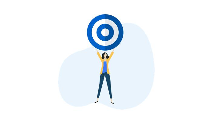 female cartoon holding a target